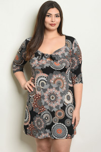 C39-A-5-D10596X BLACK PEACH PRINT PLUS SIZE DRESS 2-2-2
