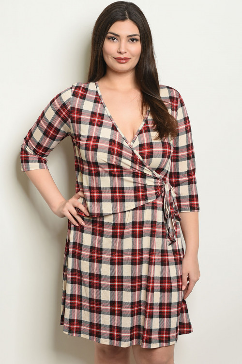 C35-A-1-D41562X CREAM RED CHECKERED PLUS SIZE DRESS 2-2-2