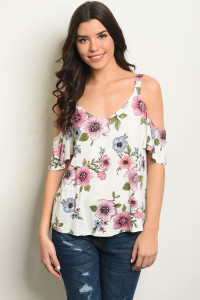 S22-1-4-T3382 OFF WHITE FLORAL TOP 2-2-2