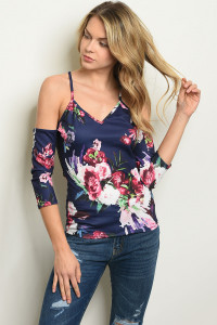 C58-B-2-T9233 NAVY FLORAL TOP 2-2-2