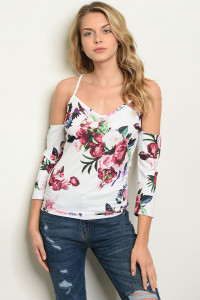 C60-B-3-T9233 IVORY FLORAL TOP 2-2-2