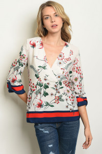 C65-B-1-T9687 IVORY FLORAL TOP 2-2-4