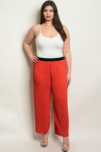 S24-5-3-P32348X RED WHITE WITH DOTS PLUS SIZE PANTS 2-2-2