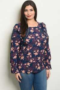 S24-5-3-T49206X NAVY FLORAL PLUS SIZE TOP 2-2-2