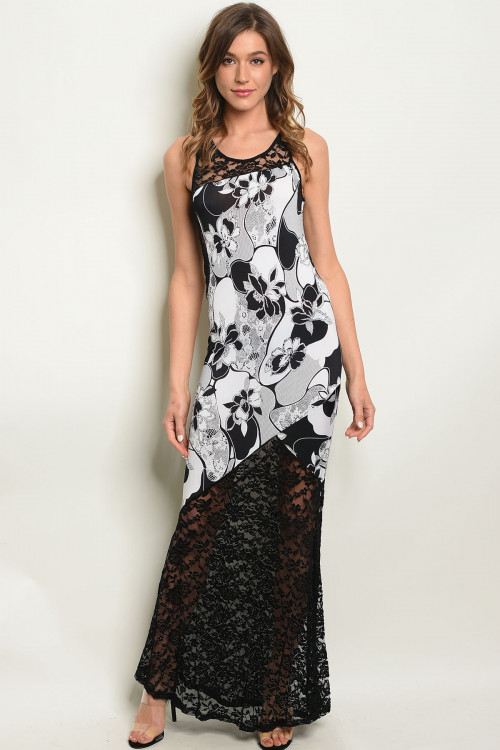 C90-A-2-D1601 BLACK WHITE WITH FLOWER DRESS 2-2-2
