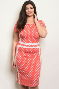 C98-A-1-D2636X CORAL WHITE WITH DOTS PLUS SIZE DRESS 1-2