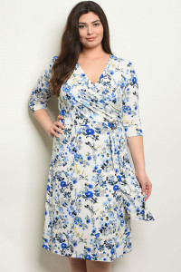 C93-A-2-D2630X OFF WHITE FLORAL PLUS SIZE DRESS 2-2-2