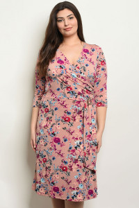 C96-A-1-D2630X MAUVE FLORAL PLUS SIZE DRESS 2-3
