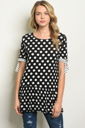 C73-B-1-T3766 BLACK WHITE W/ DOTS TOP 3-2-2