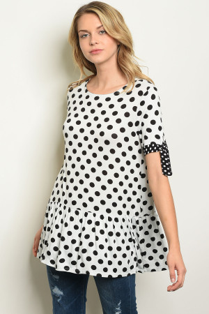 C73-B-1-T3766 WHITE BLACK W/ DOTS TOP 3-2-2