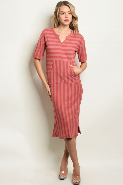 C76-A-2-D3831 BRICK BLUSH STRIPES DRESS 2-2-2-1