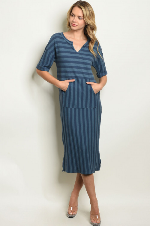 C80-A-3-D3831 INDIGO BLUE STRIPES DRESS 2-2-2-1