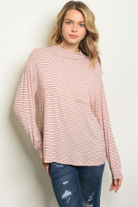 C92-B-5-T2831 OATMEAL RED STRIPES TOP 2-2-2