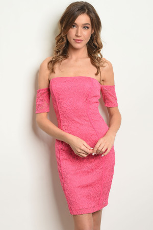 C42-A-3-D15384 FUCHSIA OFF SHOULDER DRESS 2-2-2