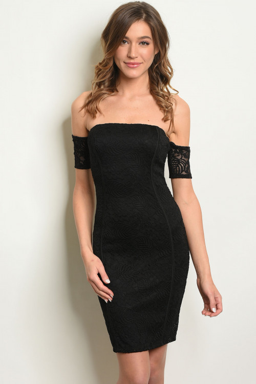 C46-A-5-D15384 BLACK OFF SHOULDER DRESS 2-2-2