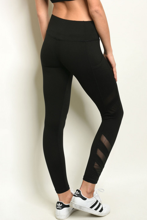 S10-2-1-L867 BLACK MESH ACTIVE LEGGINGS 1-2-2-1