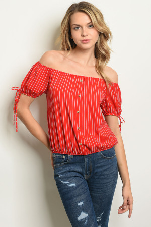 C21-B-1-T7434 RED WHITE STRIPES TOP 2-2-1