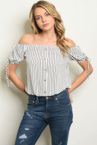 C36-B-2-T7434 IVORY NAVY STRIPES TOP 2-2-2