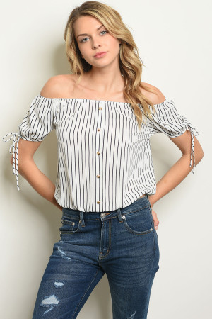 C21-B-1-T7434 IVORY NAVY STRIPES TOP 2-1-2