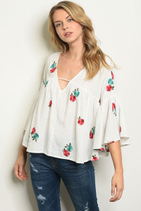 S21-1-2-T16190 IVORY WITH FLOWER EMROIDERY TOP 2-2-2