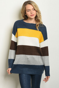 S17-5-2-S20001 YELLOW MULTI SWEATER 1-1-1