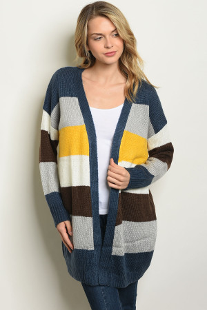 S11-8-2-C20002 YELLOW MULTI COLOR STRIPES SWEATER 2-2-2