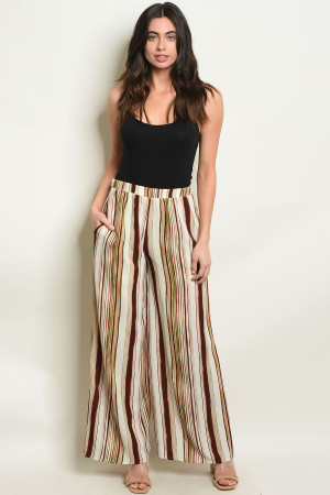 S7-2-2-P70071A IVORY BROWN STRIPES PANTS 2-2-2