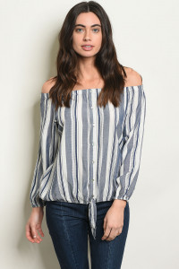 S16-8-5-T30145 NAVY WHITE STRIPES TOP 1-2-2-1
