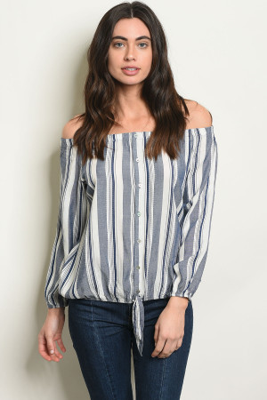 S14-11-2-T30145 NAVY WHITE STRIPES TOP 2-2