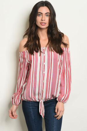 S14-11-2-T30145 RED WHITE STRIPES TOP 1-3-2-1