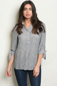S16-8-5-T30109 GRAY STRIPES TOP 1-2-2-1