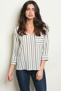 C54-B-6-T4566 IVORY BLACK STRIPES TOP 2-2-2