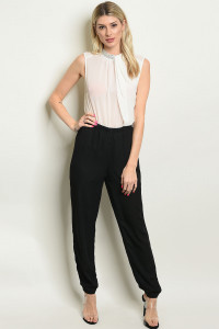 S20-10-2-J6133 BLACK OFF WHITE JUMPSUIT 3-2-1