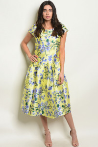 S11-10-3-SET8006 YELLOW FLORAL TOP & SKIRT SET 2-2-2