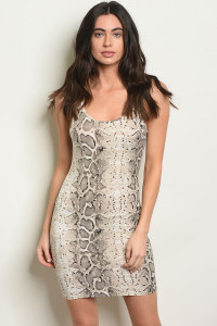 S20-11-3-D2109 GRAY SNAKE ANIMAL PRINT DRESS 3-2-2