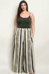 S14-4-3-P70071AX BLACK MUSTARD STRIPES PLUS SIZE PANTS 2-2-2