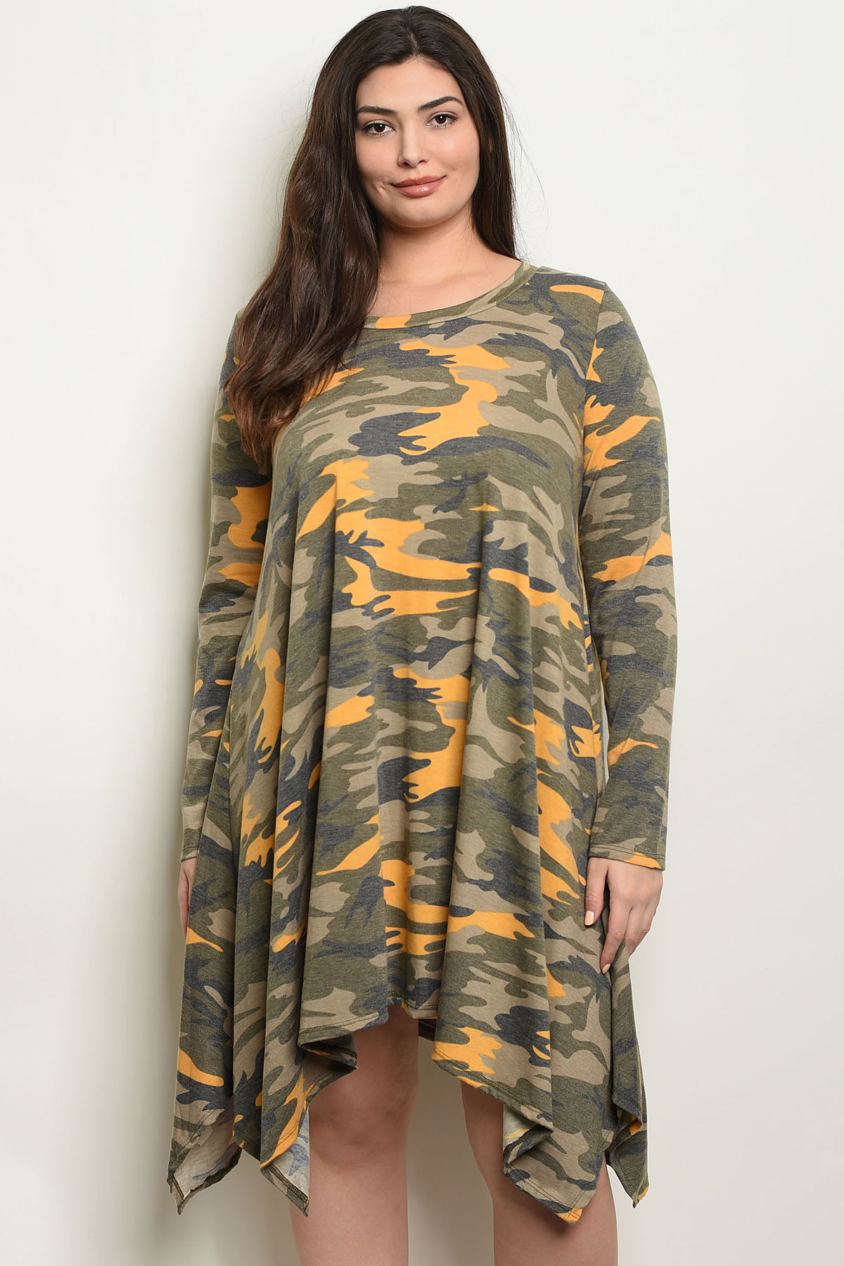 C93-A-2-D3960X YELLOW CAMOUFLAGE PLUS SIZE DRESS 2-2-2
