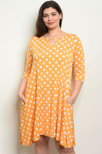 C86-A-1-D572X YELLOW WHITE WITH DOTS PLUS SIZE DRESS 3-2-2