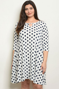 C86-A-1-D572X WHITE NAVY WITH DOTS PLUS SIZE DRESS 2-3-2