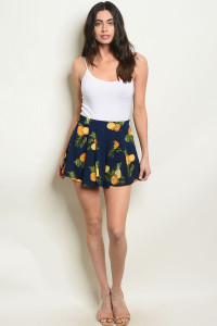 S75-B-1-NA-S51011 NAVY WITH PINEAPPLE PRINT SHORT 1-2-2