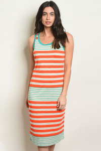 C72-A-6-NA-D6222 ORANGE JADE STRIPES DRESS 2-2-2