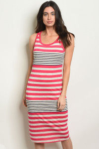 C78-A-2-NA-D6222 FUCHSIA NAVY STRIPES DRESS 2-2-2
