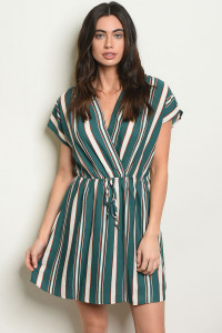 S21-11-3-NA-D18135 GREEN IVORY STRIPES DRESS 1-3-1