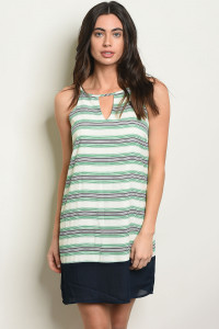 S19-6-1-NA-DE15254 GREEN NAVY STRIPES DRESS 2-2-2