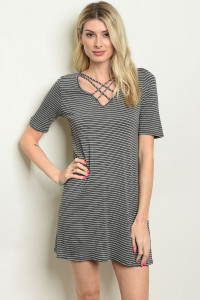 C28-A-3-D9055 CHARCOAL STRIPES DRESS 2-2-2
