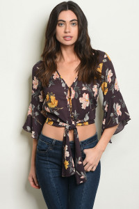 S21-8-5-NA-T20606 PURPLE FLORAL TOP 2-2-2