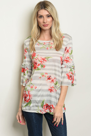 C44-B-5-T1593 GRAY IVORY FLORAL TOP 2-2-2