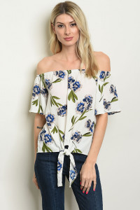 C44-A-1-T1856 OFF WHITE FLORAL TOP 1-2-2