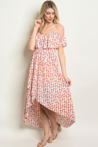 S21-11-3-D308 IVORY RED FLORAL DRESS 1-2-1-2