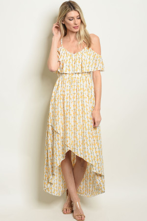 S25-5-5-D308 IVORY YELLOW FLORAL DRESS 2-2-2-2